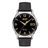 ◆TISSOT◆HERITAGE VISODATE 復刻簡約大三針石英皮帶腕錶 T118.410.16.057.01 黑