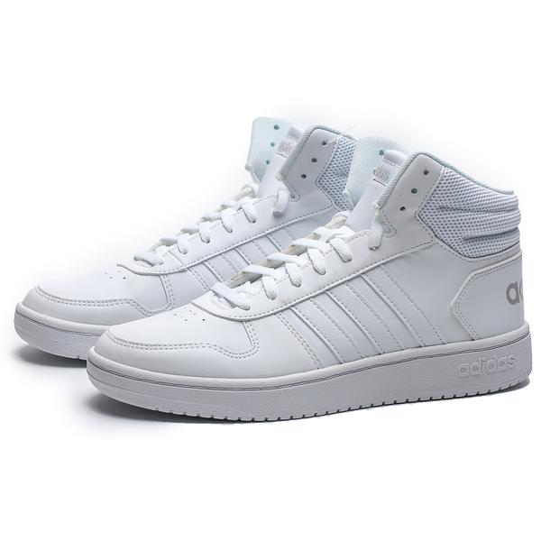 ADIDAS HOOPS 2.0 MID 全白 皮革 中筒 休閒鞋 女 (布魯克林) B42099