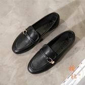 日系小皮鞋平底單鞋軟皮一腳蹬樂福鞋【橘社小鎮】