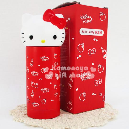 〔小禮堂〕Hello Kitty 不鏽鋼造型保溫瓶《.紅.大臉.蘋果小愛心滿版.230ml》保溫.保冷OK! 4719585-00196