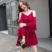 0867#2018夏新款紅色蕾絲海邊度假海灘連身裙短裙#T-BF-04B日韓屋