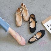 孕婦鞋 歐美春秋彈力芭蕾舞平底鞋交叉綁帶圓頭絨面瓢鞋軟底單鞋女孕婦鞋