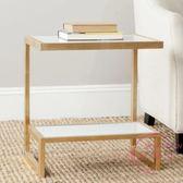 北歐客廳沙發邊几角几小茶几鐵藝玻璃創意邊桌臥室簡約床頭柜方桌 【快速出貨】