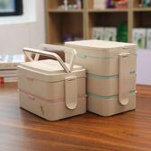 便當盒 微波爐加熱飯盒專用日式長方形分格便當盒上班族送餐具套裝 【晶彩生活】