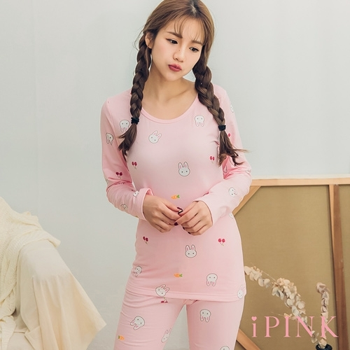 i PINK 舒柔好眠 發熱內刷毛貼身棉質居家睡衣套裝(粉兔)