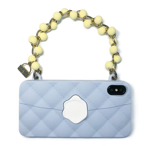 【Candies】珠鍊經典晚宴包(湖水藍)-IPhone