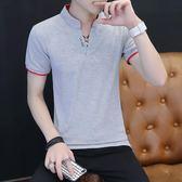 夏季男士短袖t恤修身潮流正韓V領個性上衣半袖衣服時尚男裝polo衫【全館免運】