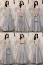 伴娘服 仙氣質2019新款秋季長款灰色姐妹團婚禮晚禮服女顯瘦連衣裙