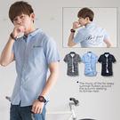 柒零年代【N8419J】韓系都會新貴簡約穿搭手寫字母純色短袖襯衫(JK0006)