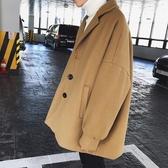 ins毛呢外套男短款韓版英倫風懶人風衣學生日系潮流寬鬆冬季加厚