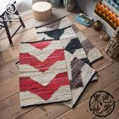 印度進口 簡約民族風手工皮質編織地毯 進門入戶玄關臥室門口地墊zone【黑色地帶】