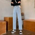 促銷九折 老爹褲女夏季流行的褲子chic韓版直筒闊腿高腰顯瘦牛仔長褲