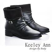 ★零碼出清★Keeley Ann 都會美感~細寬帶金屬釦簡約反摺短靴(黑色)