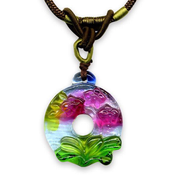 鹿港窯~居家開運水晶琉璃項鍊~蝴蝶蘭◆ 附精美包裝◆免運費送到家