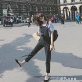 勾勾背帶減齡牛仔褲女復古柔軟學生連體褲夏顯瘦休閒薄款黑色褲子 小確幸生活館