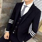 西裝套裝含西裝外套+西裝褲(三件套)-休閒雙邊三槓條紋伴郎男西服2色73hc38【時尚巴黎】