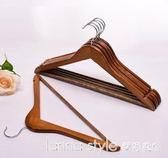 衣架木衣架子成人服裝店掛衣架撐子防滑木頭衣架家用木質衣掛 IGO  LannaS