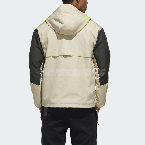 adidas 外套 W.N.D. Jacket 卡其 黑 男款 風衣外套 連帽 立領 運動休閒 【ACS】 GF4014