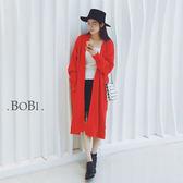 長版大衣  口袋開衩長版開襟罩衫外套【KL11K】 BOBI  11/03