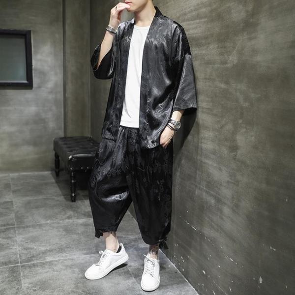 唐裝男夏季薄款冰絲套裝中國風改良漢服超薄古裝禪服青年道袍茶服 滿天星
