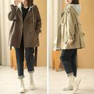 純棉大衣外套 假兩件雙排扣長款外套 連帽大衣外套/3色-夢想家-0917