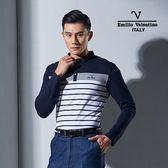 Emilio Valentino范倫鐵諾機能舒適彈力長袖圓T (藍/白)