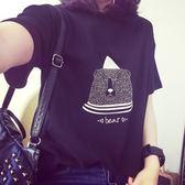 短袖針織衫-卡通印花寬鬆百搭女T恤2色73hn1[時尚巴黎]