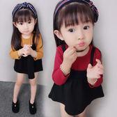 女童秋裝打底衫新款韓版寶寶假兩件套