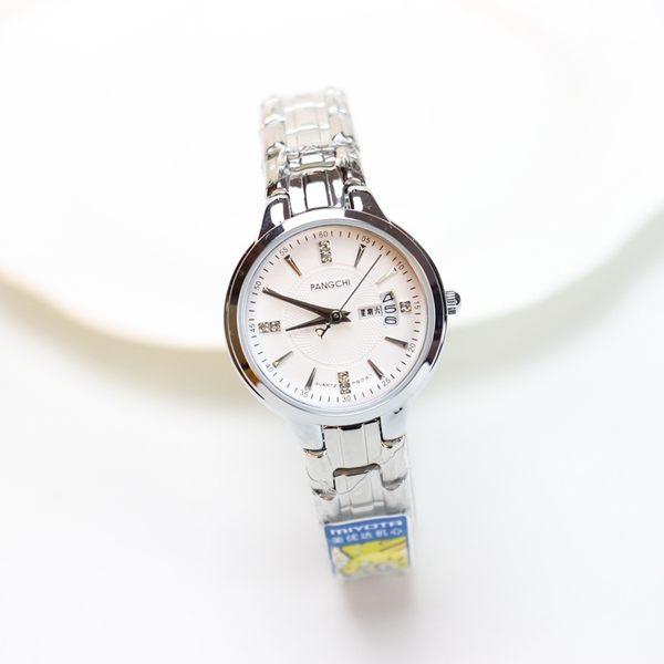 店長推薦 鋼帶情侶手錶個性表盤水?雙日歷男表防水學生腕表時尚潮女表