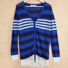 【CUMAR】橫條紋長版針織外套-藍...