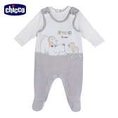 chicco-粉彩-剪毛絨兩件式背心褲套裝-米色