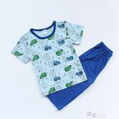 男童汽車麥昆垂竹棉睡衣兒童居服套裝吸汗透氣 道禾生活館