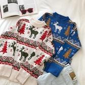 圣誕樹羚羊提花長袖毛衣女2019新款冬季韓版美式街頭風寬鬆針織衫