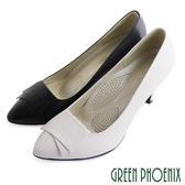 U23-20607女款全真皮尖頭高跟鞋 素雅典藏幾何圖形全真皮尖頭高跟鞋【GREEN PHOENIX】