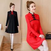 胖mm改良式旗袍女冬裝中國風寬鬆大碼加絨加厚遮肚子顯瘦蕾絲短裙 DN20784『男神港灣』
