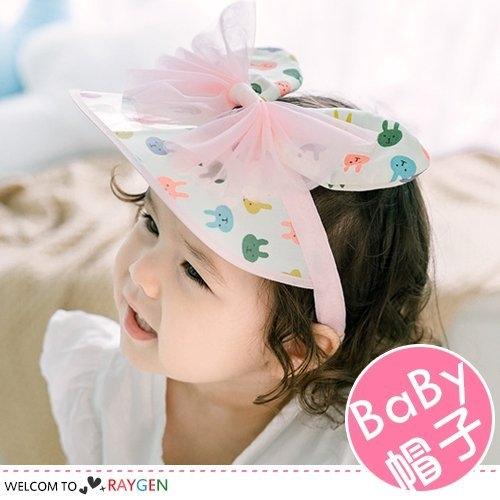 女童超Q兔耳朵蝴蝶結遮陽帽 空頂帽 髮箍