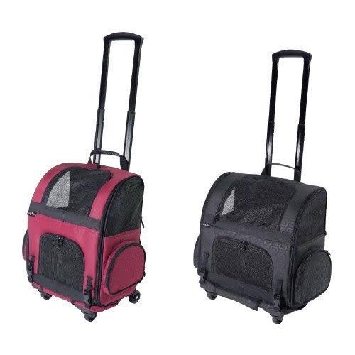 *WANG*Gen7pets 《 寵物拉桿箱》幾何黑/幾何紅 輪子可360度旋轉移動方便。兩用超便利