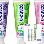 日本原裝 KAO 兒童牙膏(葡萄/草莓/哈蜜瓜)70g*3+牙刷(6~12)*6