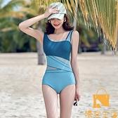 泳衣顯瘦遮肚連體運動比基尼三角性感溫泉保守游泳裝女士【慢客生活】