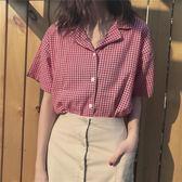 夏季韓版小清新格子短袖西裝領襯衫學生百搭寬鬆休閒襯衣女上衣 魔方
