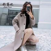 秋冬新款韓版修身毛呢外套時尚中長款大衣流行學生呢子女 汪喵百貨