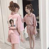 VK精品服飾 韓系時尚背後印花休閒寬口短褲套裝短袖褲裝