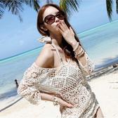 罩衫 鏤空 針織 長袖 長裙 沙灘 比基尼 罩衫【ZS019】 BOBI  04/26