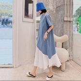 韓長裙長版T裙條紋拼接L-3XL寬鬆細條紋拼接雪紡短袖連衣裙景1F5.6245愛尚布衣