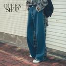 Queen Shop【04011355】牛仔拼接格紋造型牛仔長褲 S/M/L*現+預*