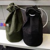 [Bbay] 帆布 雙肩包 抽繩 束口袋 旅行包 健身包