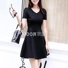 新款衣服短袖女黑色收腰顯瘦氣質小個子a字...