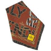 FENDI動物紋字母LOGO純棉帕巾(橘紅色)989006-12