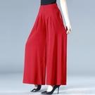 夏季女裝闊腿褲高腰垂感媽媽裙褲寬鬆大碼顯瘦長褲中老年廣場舞褲 萊俐亞