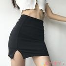 包臀裙 歐美性感修身款單側小開叉半身裙高腰包臀黑色防走光帶安全褲短裙 愛丫 免運